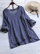 Casual Plaid Irregular Hem Button Plus Size Blouse