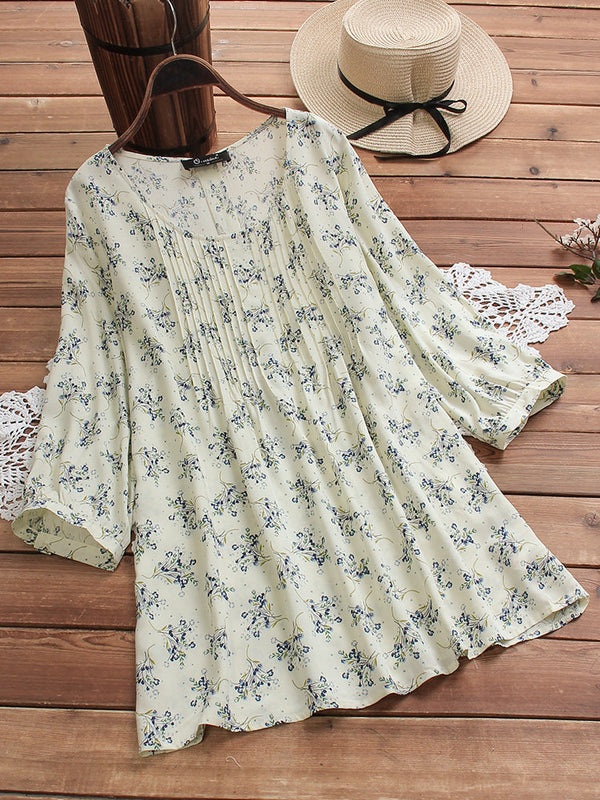 Vintage Floral Print 3/4 Sleeve Pleated Plus Size Blouse