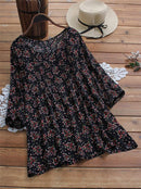 Floral Loose Top Shirt Vintage Blouse - seebee