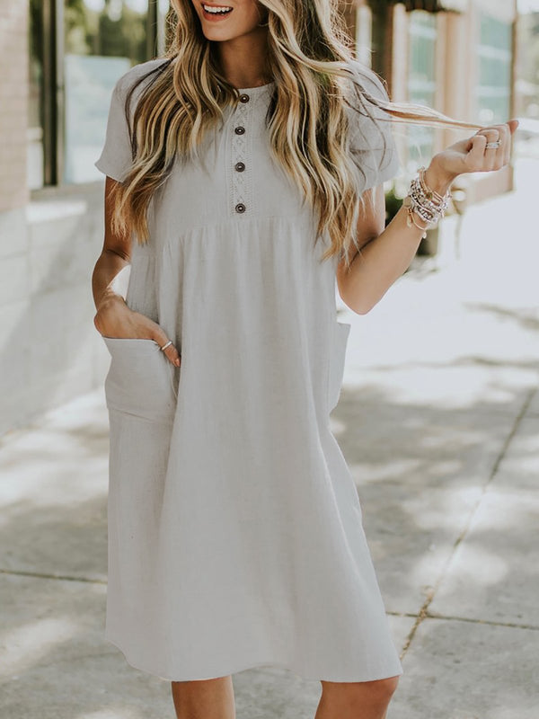 Plus Size Short Sleeve Midi Dress