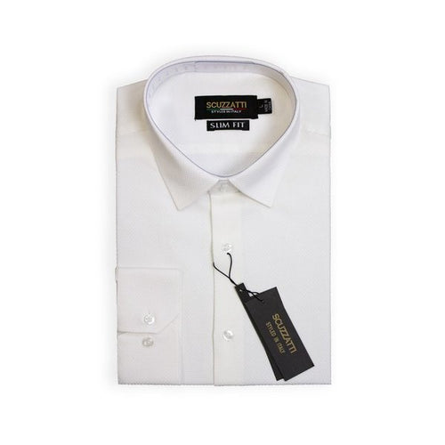 Mens Formal White Birdseye Pattern Collar Shirt