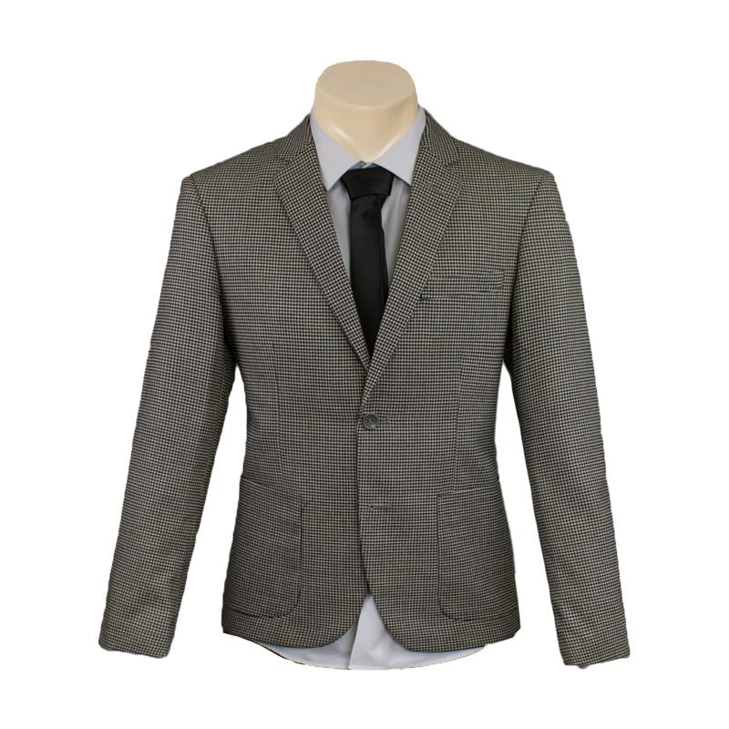 Men's Formal Taupe Mini Check Sport Jacket/Blazer Slim Fit