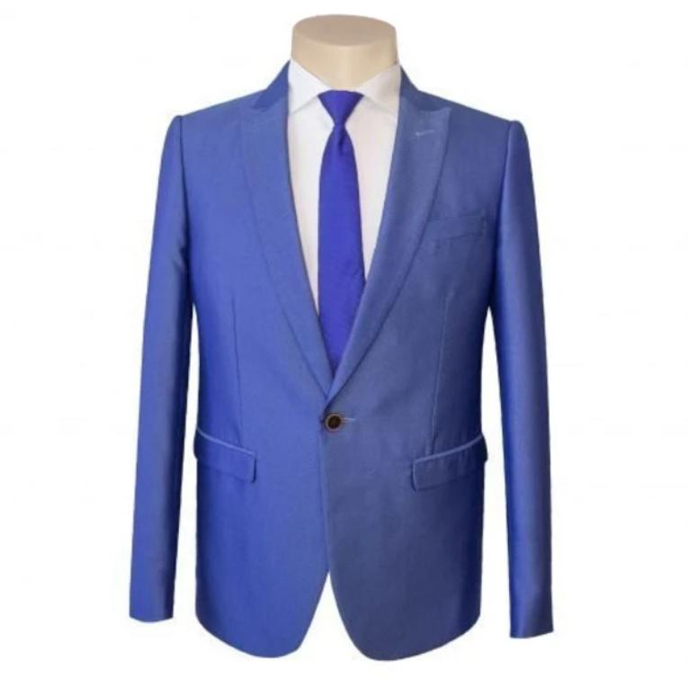 Men's Formal Business Wedding Blue Peak Lapel Texture Slim Fit Suit