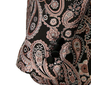 Pink/Black Stylish Paisley Tuxedo Dinner Jacket