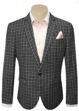Load image into Gallery viewer, Men's Formal Trendy Black Check Pattern Slim Fit Sport Jacket/Blazer