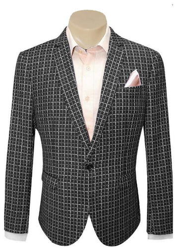 Men's Formal Trendy Black Check Pattern Slim Fit Sport Jacket/Blazer