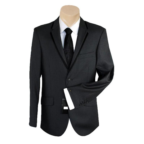 Men's or Groomsmen's Formal Plain Black Trim Slim Fit Bond SUIT