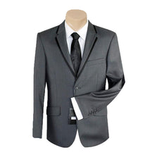 Load image into Gallery viewer, Men's or Groomsmen's Formal Plain Charcoal Trim Slim Fit Bond SUIT