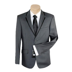 Men's or Groomsmen's Formal Plain Charcoal Trim Slim Fit Bond SUIT