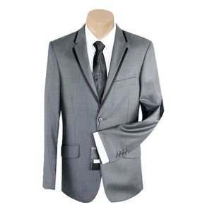 Men's or Groomsmen's Formal Plain Grey Trim Slim Fit Bond SUIT