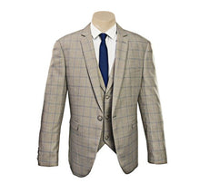Load image into Gallery viewer, Beige Double Lines Check Slim Fit Sport Jacket/Blazer