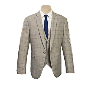 Beige Double Lines Check Slim Fit Sport Jacket/Blazer