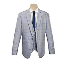 Load image into Gallery viewer, Men's Trendy  Double Line Sky Blue Check Slim Fit Sport Jacket/Blazer