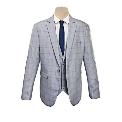 Men's Trendy  Double Line Sky Blue Check Slim Fit Sport Jacket/Blazer