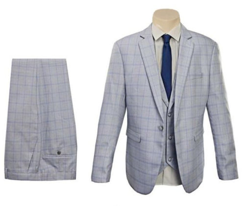 Sky Blue Double Lines Check Slim Fit SUIT