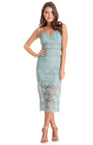 Women's Mint Love Heart Neckline Lace Midi Dress with Trim