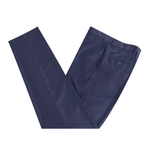 Men Formal Navy Self Stripe Poly Viscose Trousers