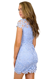 Women's Blue Heavy Lace Embroidery Dress with Strapless Bodycon