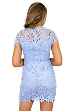 Load image into Gallery viewer, Women's Blue Heavy Lace Embroidery Dress with Strapless Bodycon
