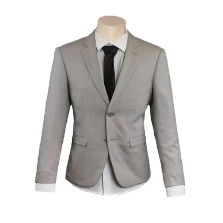 Men's Formal Business Wedding Fawn Poly Wool Slim Fit Suit