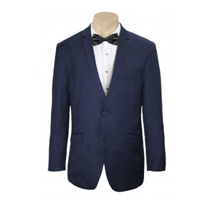 Men Formal Navy Self Stripe Poly Viscose Jacket