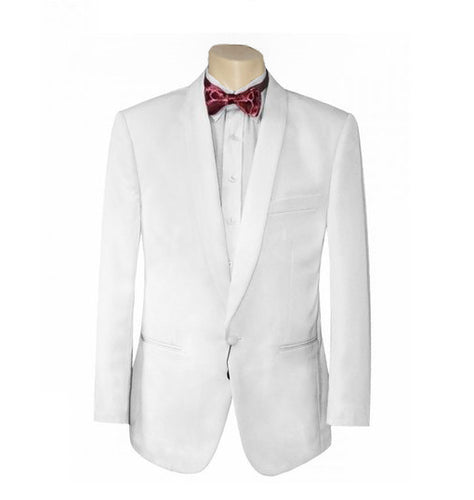 Men Formal White Tuxedo Dinner JACKET - White Shawl Lapel