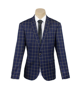 Men's Formal Navy Check One Button Sport Jacket/Blazer Slim Fit