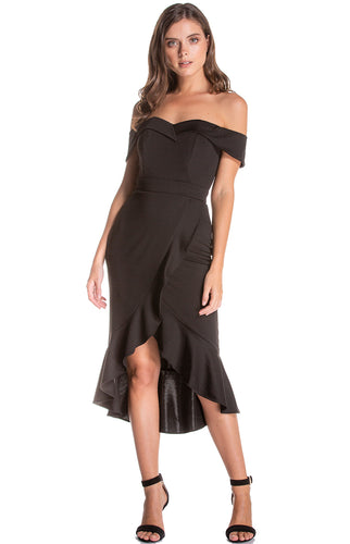 Women's Black Off Shoulder Sweetheart Neckline Bodycon Dress With Ruffle