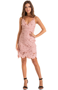 Women's Blush Embroidery Sunflower Strap Dress with V Neckline