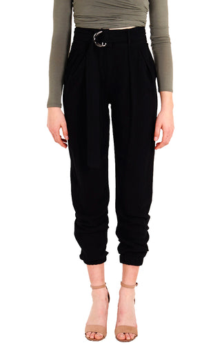 Women's Black Pants Cuffed with Front Pleated Details