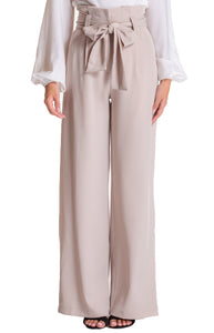 Beige Paper Bag Waist Wide Leg Pants