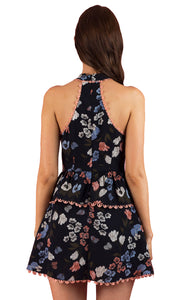 Women's Navy High Neck Floral with Waist Frill Dress and Mess Cut
