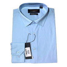 Load image into Gallery viewer, Mens Formal Sky Blue Poly Cotton Plain Shirt
