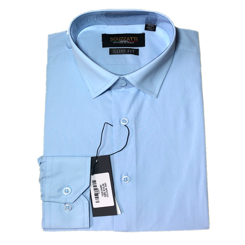 Mens Formal Sky Blue Poly Cotton Plain Shirt