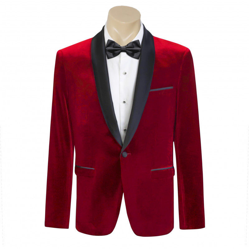 Men Formal Red Velvet Tuxedo Dinner Jacket/Blazer