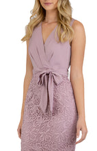 Load image into Gallery viewer, Women's Mauve V-Neckline Lace Contrast Dress with Front Belt Details