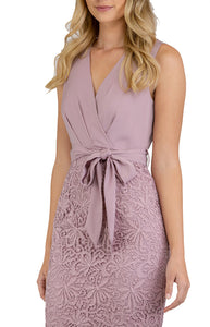 Women's Mauve V-Neckline Lace Contrast Dress with Front Belt Details