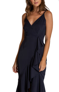 Women's Navy V-neckline Formal Ruffle Dress with Waterfall Hemline