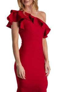 Women's Red Midi Length One Shoulder Dress With Frill Feature