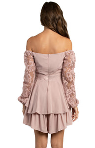 Women's Blush Long Sleeve Playsuit with Lace and Elasticised Cuffs