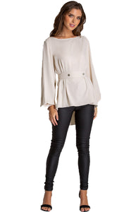 Women's Champagne Boat Neckline Blouse With Button Details