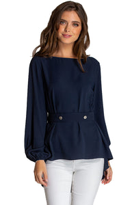 Women's Navy Loose Fit Boat Neckline Blouse With Button Details