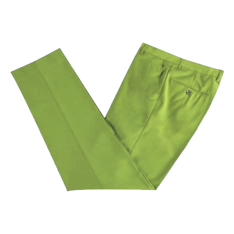 Men Formal Green Microfibre Coloured Trousers