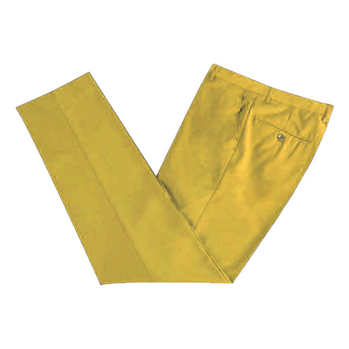 Men's Formal Yellow Microfibre Coloured Trousers