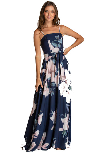 Women's Navy Strapless Maxi Floral Dress with Belt Detail