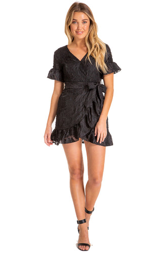 Women's Black Black Embroidery Mini Dress with Ruffle Detail