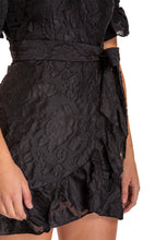 Load image into Gallery viewer, Women's Black Black Embroidery Mini Dress with Ruffle Detail