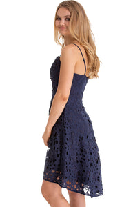 Women's Navy Floral Embroidery Lace Dress with V-Neckline