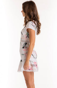 Women's Blush Floral Dress With Trim and Ruffle Details