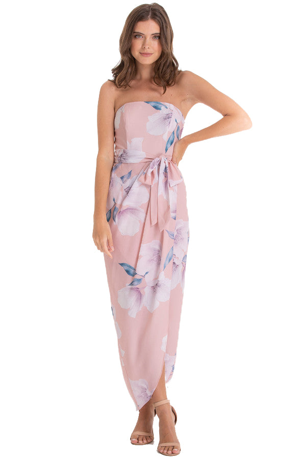 Women's Blush Floral Strapless Dress With Tie-on Ribbon Belt